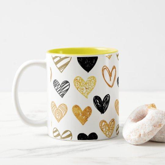 Caneca De Café Em Dois Tons Corações lindezas