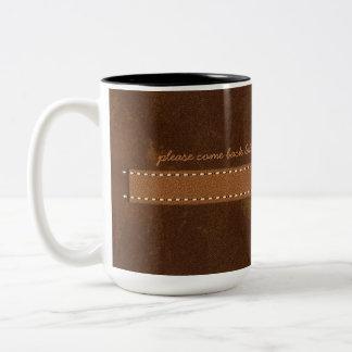 Caneca De Café Em Dois Tons Correia de couro do ponto de Brown do couro cru