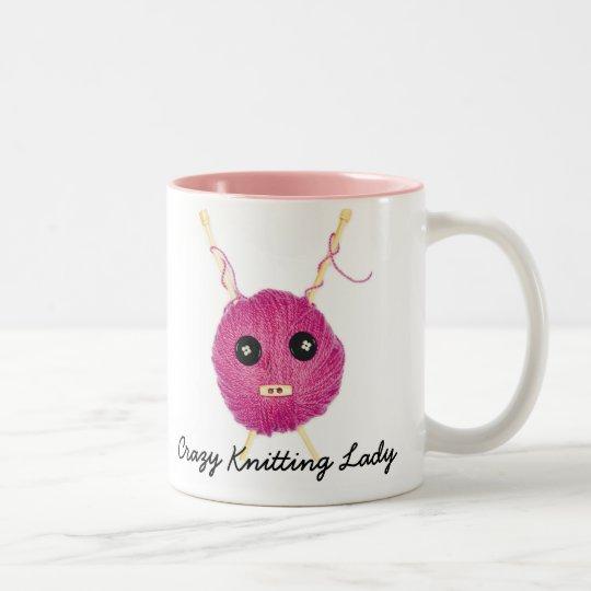 Caneca De Café Em Dois Tons Crazy Knitting Lady