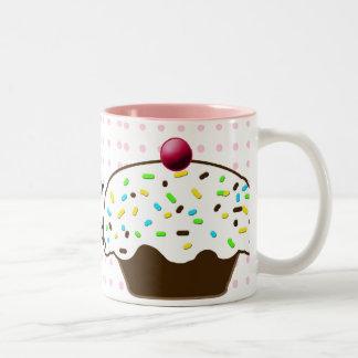 Caneca De Café Em Dois Tons Cupcakes bonitos