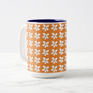 Caneca De Café Em Dois Tons Daisy-Print-White_Gray_Orange (c) Multi-Escolhas