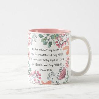 Caneca De Café Em Dois Tons Deixe as palavras de minha boca - 19:14 do