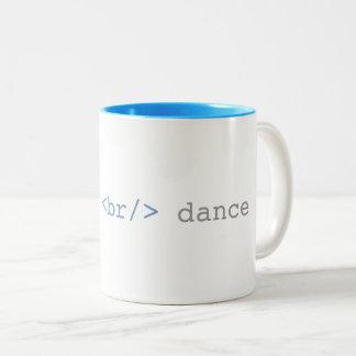 Caneca De Café Em Dois Tons Deixe-nos HTML engraçado da dança de ruptura