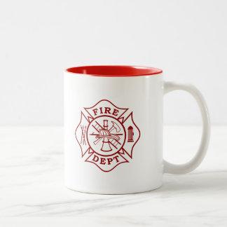 Caneca De Café Em Dois Tons Departamento do fogo/caneca cruz maltesa do