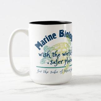 Caneca De Café Em Dois Tons Desejo marinho do biólogo o mundo a ser lugar mais