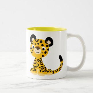 Caneca De Café Em Dois Tons Desenhos animados amigáveis bonitos Jaguar