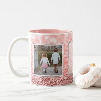 Caneca De Café Em Dois Tons Design cor-de-rosa das imagens w/Text do brilho 2