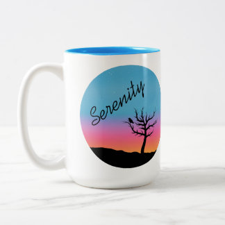 Caneca De Café Em Dois Tons Design crepuscular da serenidade do céu