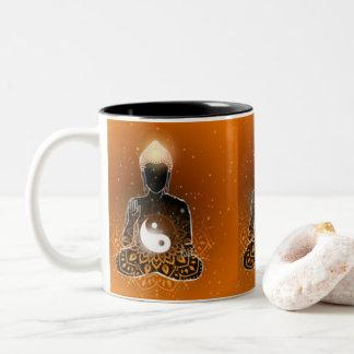 Caneca De Café Em Dois Tons Design de Ying Yang da meditação de Buddha