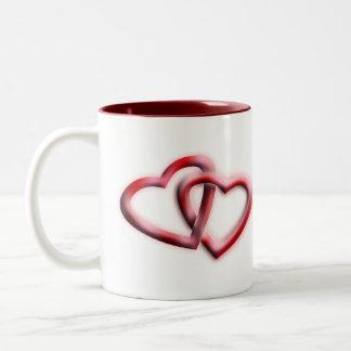 Caneca De Café Em Dois Tons Design do coração das ideias | do presente do