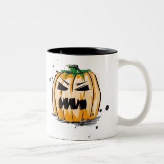 Caneca De Café Em Dois Tons Dia das bruxas Spooky Pumpkin