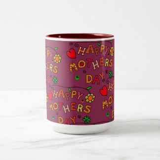 Caneca De Café Em Dois Tons Dia das mães feliz