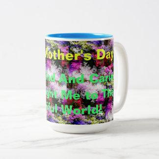 Caneca De Café Em Dois Tons Dia das mães feliz com flores