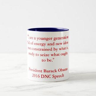 Caneca De Café Em Dois Tons Discurso de Barack Obama 2016 DNC