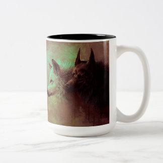 Caneca De Café Em Dois Tons dois lobos - lobo da pintura