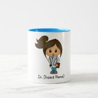 Caneca De Café Em Dois Tons Doutor bonito personalizado Brunette Fêmea, borda