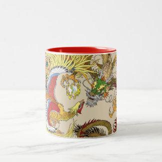Caneca De Café Em Dois Tons Dragão e phoenix chineses