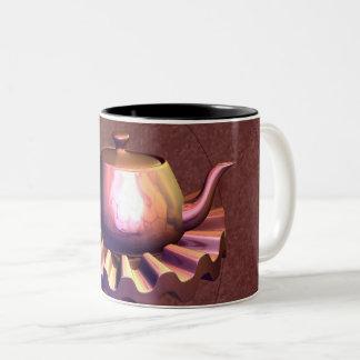 Caneca De Café Em Dois Tons Em cima da reflexão