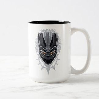 Caneca De Café Em Dois Tons Emblema da cabeça da pantera preta de pantera