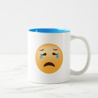 Caneca De Café Em Dois Tons Emoji triste