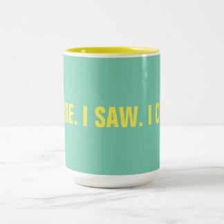 """Caneca De Café Em Dois Tons Engraçado """"eu vim. Eu vi. Eu mencionei"""" 15 onças"""