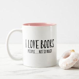 Caneca De Café Em Dois Tons Engraçado Introvert pessoas dos livros do amor de