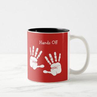 Caneca De Café Em Dois Tons Engraçado mantenha suas mãos fora