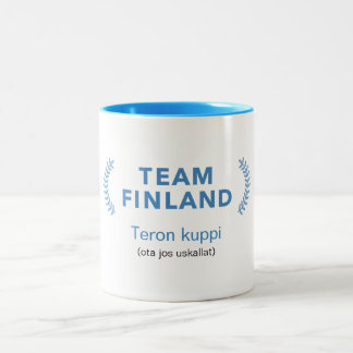 Caneca De Café Em Dois Tons Equipe Finlandia + nome