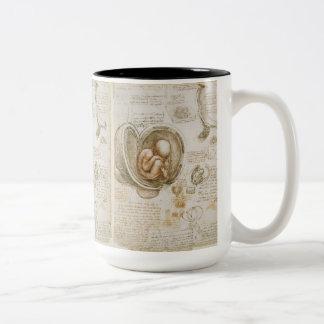 Caneca De Café Em Dois Tons Esboço do feto por Leonardo da Vinci
