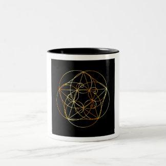 Caneca De Café Em Dois Tons Espiral de Fibonacci a geometria sagrado