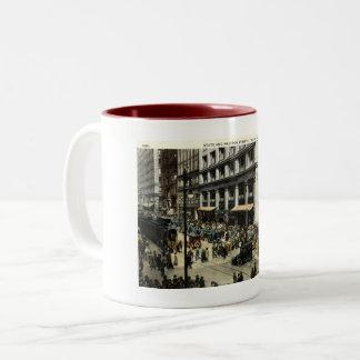 Caneca De Café Em Dois Tons Estado & Madison Sts., Chicago IL, vintage 1922
