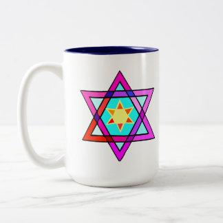 Caneca De Café Em Dois Tons Estrela judaica da vida