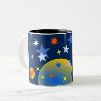 Caneca De Café Em Dois Tons Estrelas e planetas celestiais
