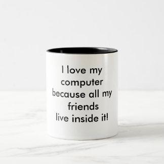 Caneca De Café Em Dois Tons Eu amo meu computador