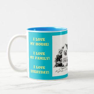 Caneca De Café Em Dois Tons Eu amo minha casa! Eu amo minha família!