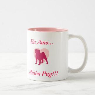 Caneca De Café Em Dois Tons Eu amo Minha Pug!