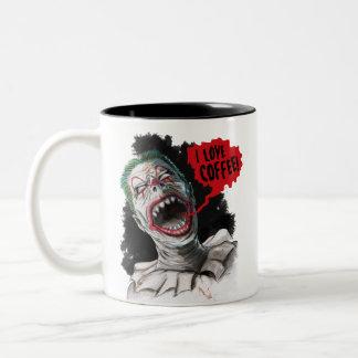 Caneca De Café Em Dois Tons Eu amo o palhaço de riso louco do zombi do café
