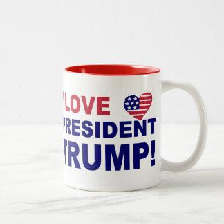 Caneca De Café Em Dois Tons Eu amo o presidente Trunfo