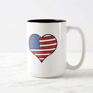 Caneca De Café Em Dois Tons Eu amo orgulho de América - os Estados Unidos da