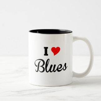 Caneca De Café Em Dois Tons Eu amo os azuis polares