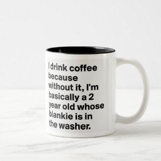 Caneca De Café Em Dois Tons eu bebo o café porque sem ele