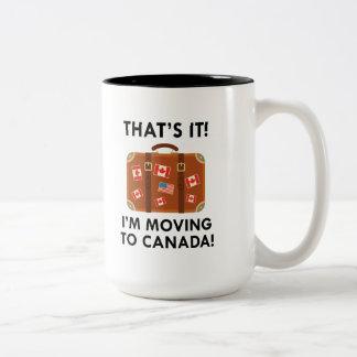 Caneca De Café Em Dois Tons Eu estou transportando-me a Canadá