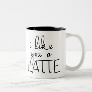 Caneca De Café Em Dois Tons Eu gosto de você um Latte