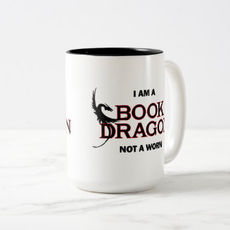 Caneca De Café Em Dois Tons Eu sou um dragão do livro, não um sem-fim