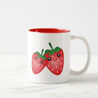 Caneca De Café Em Dois Tons Eu te amo baga bonito muita fruta da morango de