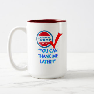 Caneca De Café Em Dois Tons Eu votei para o trunfo