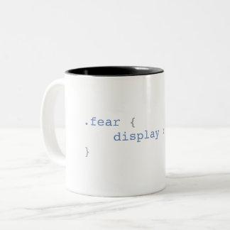 Caneca De Café Em Dois Tons Exposição do medo nenhuns CSS engraçado