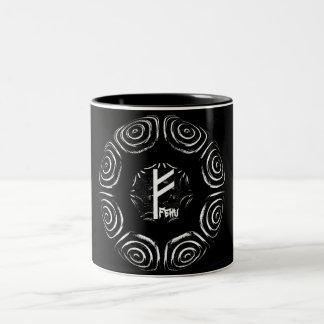 Caneca De Café Em Dois Tons ☼Fehu - Rune da sorte & do Prosperity☼