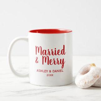 Caneca De Café Em Dois Tons Feriado casado e alegre RW