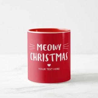 Caneca De Café Em Dois Tons Feriado vermelho bonito do Natal   de Meowy do